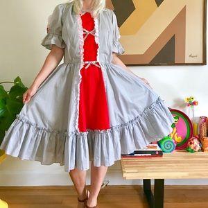 Vintage 70s square dancing peasant mini dress XL